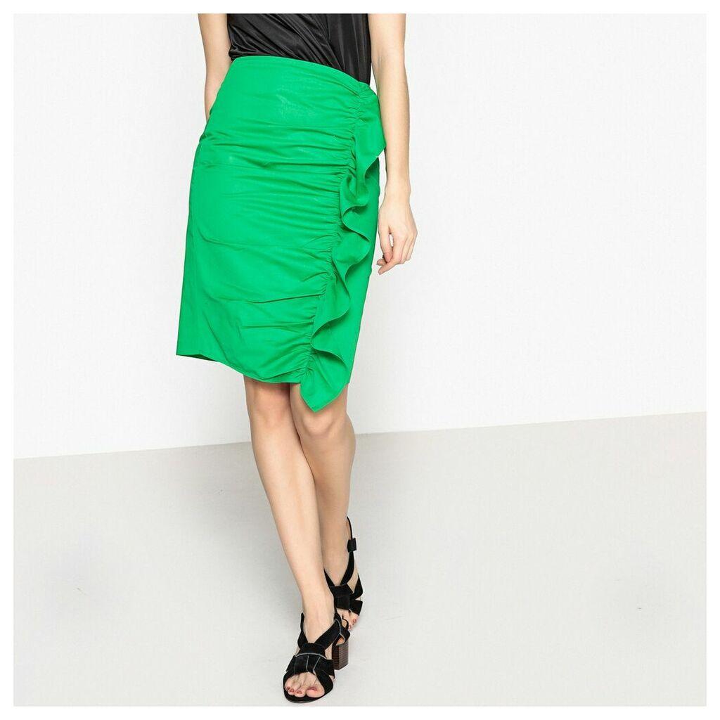 Asymmetrical Ruffled Pencil Skirt