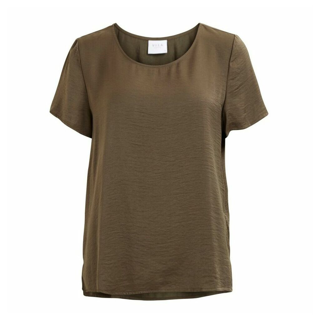 Plain Short-Sleeved Round Neck Blouse