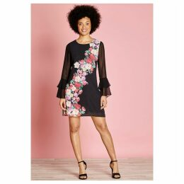 Floral Print Dress with Mesh Ruffled Sleeves