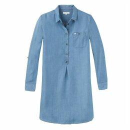 Plain Midi Shift Dress with Long Sleeves