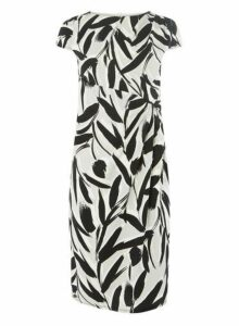 Womens **Lily & Franc Monotone Floral Print Manipulated Shift Dress- Black/White, Black/White