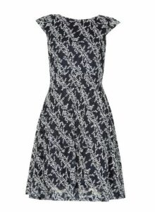Womens *Izabel London Navy Fern Print Tea Dress- Blue, Blue