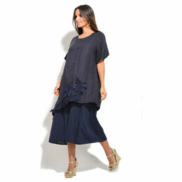 100 % Lin  Dress  women's Long Dress in Blue