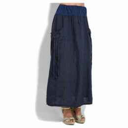 100 % Lin  Skirt  women's Skirt in Blue