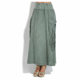 100 % Lin  Skirt  women's Skirt in Green