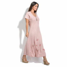 100 % Lin  Dress  women's Long Dress in Pink