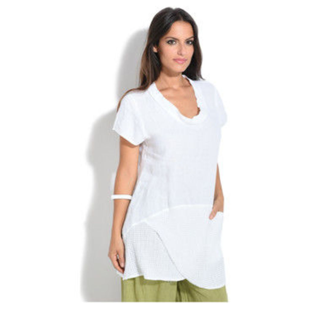 100 % Lin  Top  women's Blouse in White