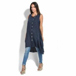 100 % Lin  Dress  women's Tunic dress in Blue