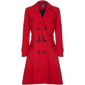 De La Creme  Spring Belted Trench Coat  women's Coat in Red