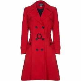 De La Creme  Spring Belted Trench Coat  women's Coat in Red