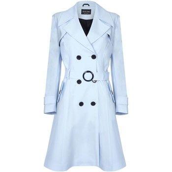 De La Creme  Spring Belted Trench Coat  women's Coat in Blue
