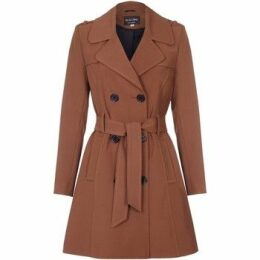 De La Creme  Spring Tie Belted Trench Coat  women's Coat in Brown