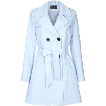 De La Creme  Spring Tie Belted Trench Coat  women's Coat in Blue