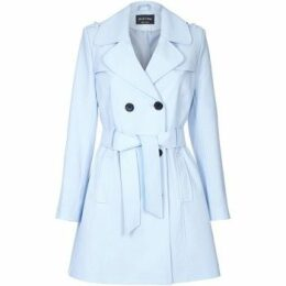 De La Creme  Spring Tie Belted Trench Coat  women's Coat in Blue