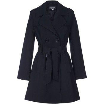 De La Creme  Spring Tie Belted Trench Coat  women's Coat in Black