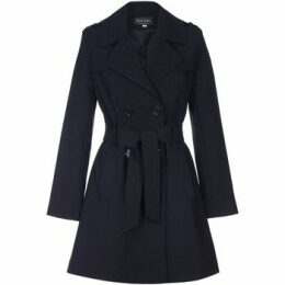 De La Creme  Spring Tie Belted Trench Coat  women's Coat in Black
