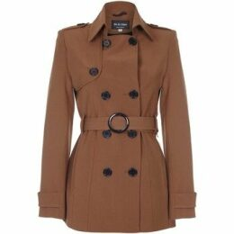 De La Creme  Spring Tie Belted Short Trench Coat  women's Coat in Brown