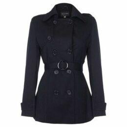 De La Creme  Spring Tie Belted Short Trench Coat  women's Coat in Black