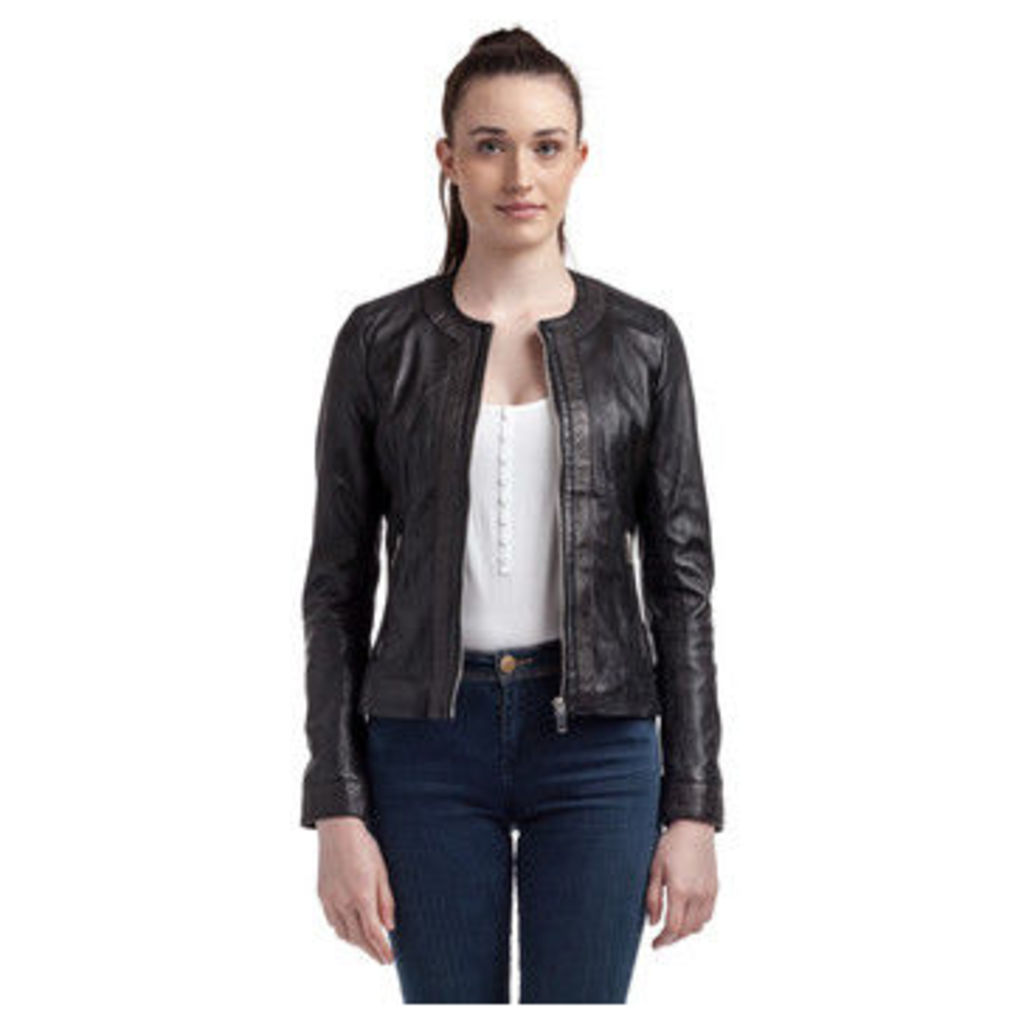 Kaporal  Round neck leather jacket with zip closure  women's Leather jacket in Black