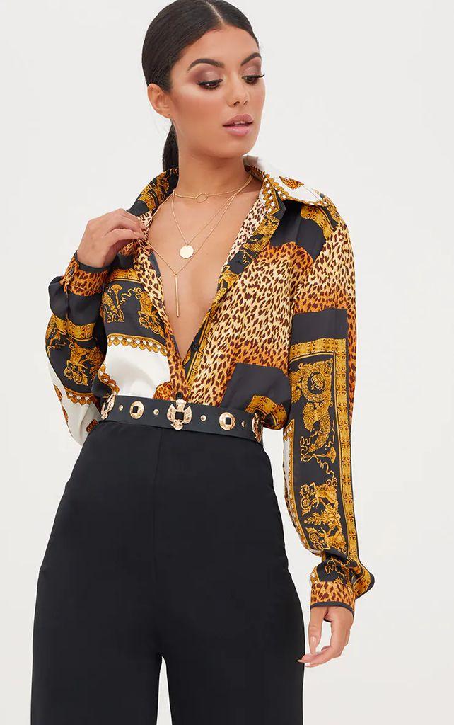 Black Leopard Print Satin Oversized Shirt, Black