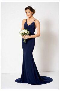 Womens **Cross Back Fishtail Maxi Dress By Club L - Navy Blue, Navy Blue