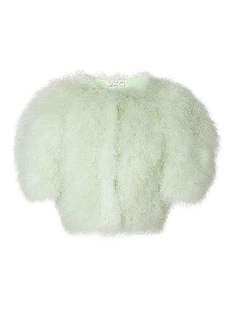 Nina Ricci cropped feather bolero - Green