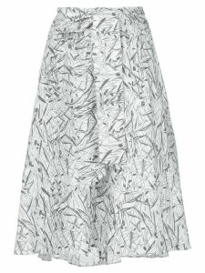 Chalayan flared print skirt - White