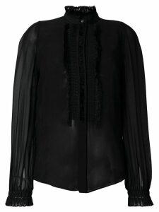 Roberto Cavalli pleated sheer blouse - Black