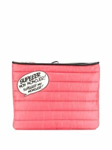 Moncler speech bubble quilted clutch - Pink