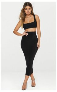 Black Second Skin Slinky Midaxi Skirt, Black
