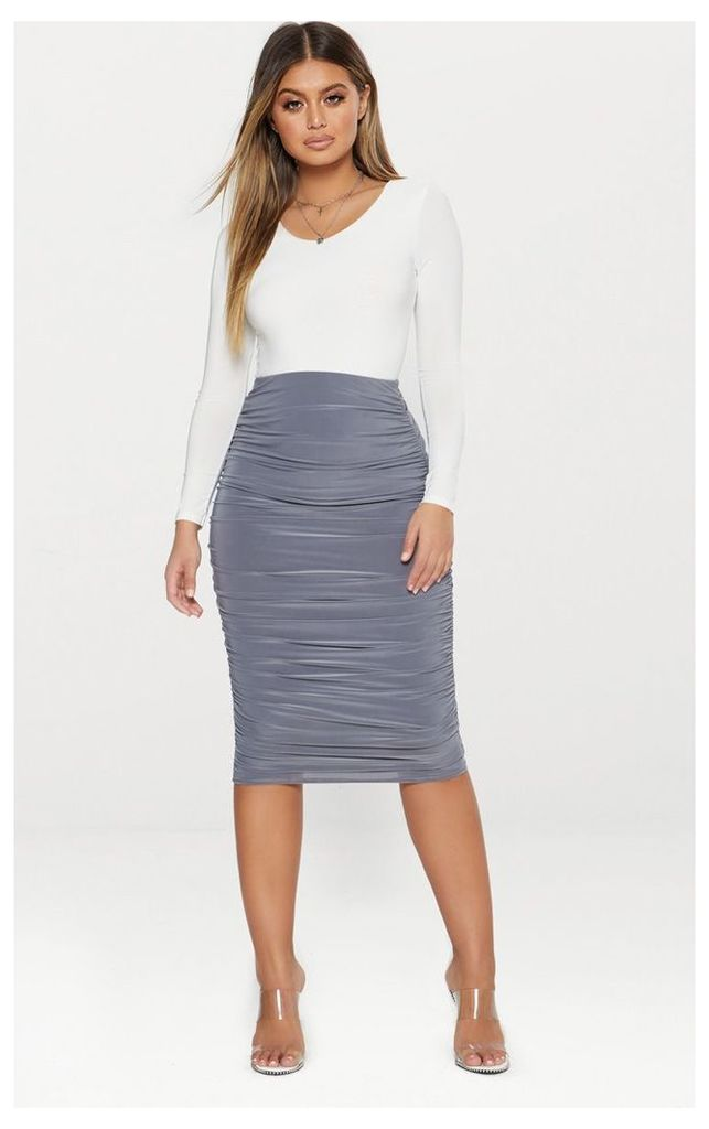 Grey Second Skin Slinky Ruched Midi Skirt, Grey
