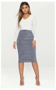 Grey Second Skin Slinky Ruched Midi Skirt, Grey