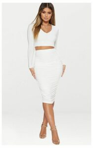 White Slinky Second Skin Ruched Midi Skirt, White