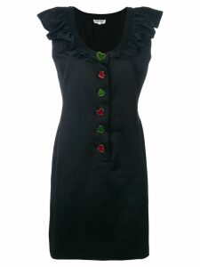 Yves Saint Laurent Pre-Owned ruffled button-down dress - Black