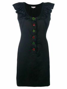 Yves Saint Laurent Pre-Owned ruffled button-down dress - Black