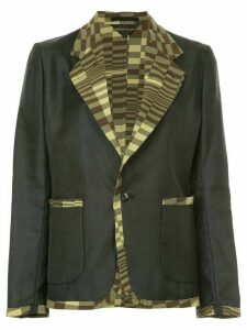 Comme Des Garçons Pre-Owned printed-panel slim-fit blazer - Grey