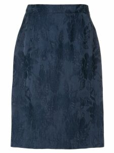 Yves Saint Laurent Pre-Owned floral jacquard straight skirt - Blue