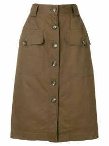 Yves Saint Laurent Pre-Owned straight buttoned skirt - Brown