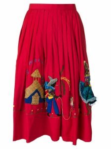William Vintage Haitian People embroidery skirt - Red