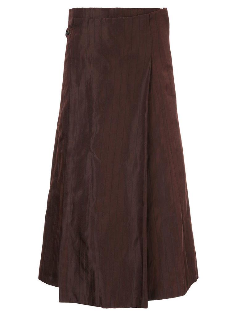 Comme Des Garçons Vintage pinstripe wrap flared skirt - Brown