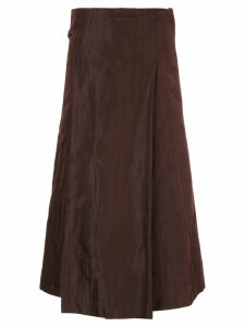 Comme Des Garçons Pre-Owned pinstripe wrap flared skirt - Brown
