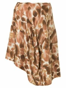 Comme Des Garçons Pre-Owned petal-print asymmetric skirt - Brown