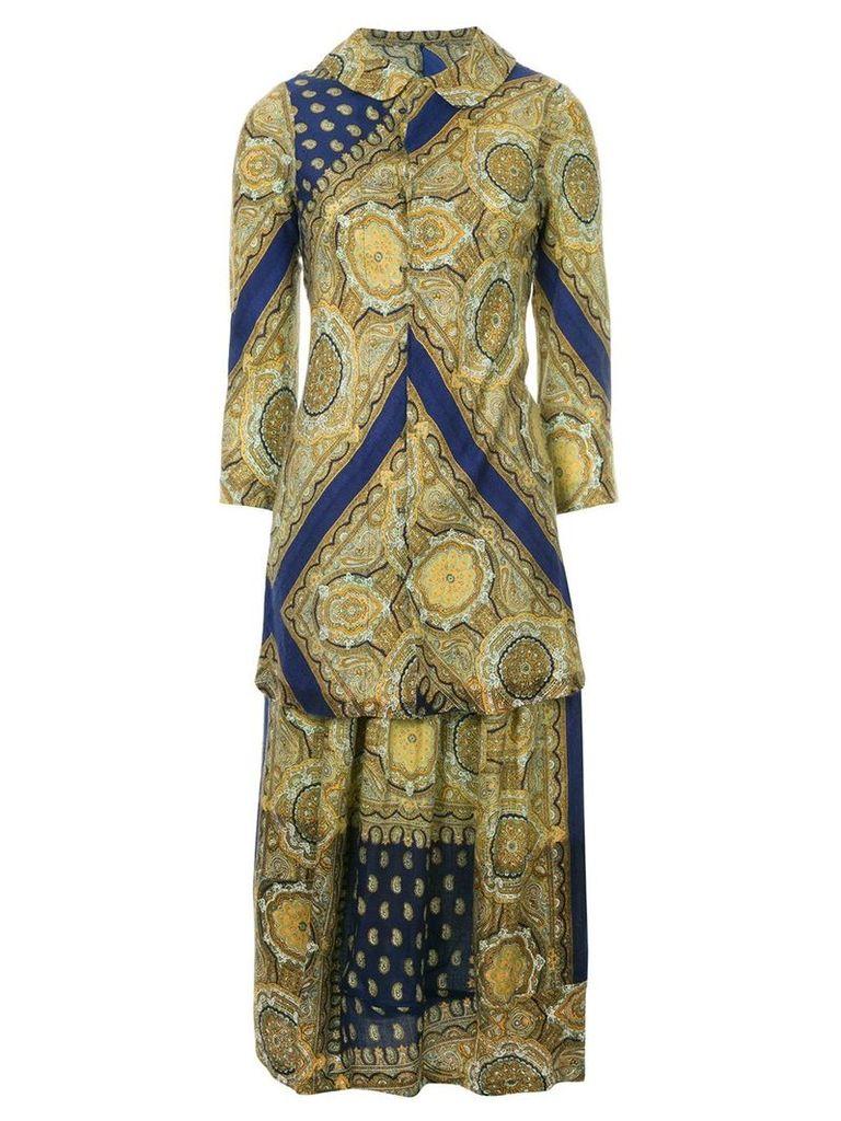 Comme Des Garçons Vintage arabesque-print skirt suit - Blue