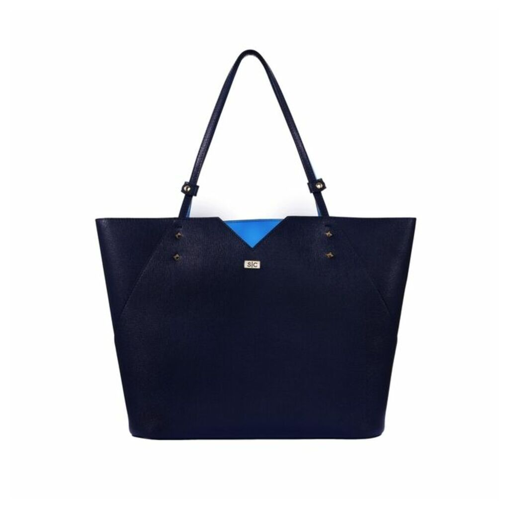 Stacy Chan London Veronica Tote In Navy Saffiano Leather