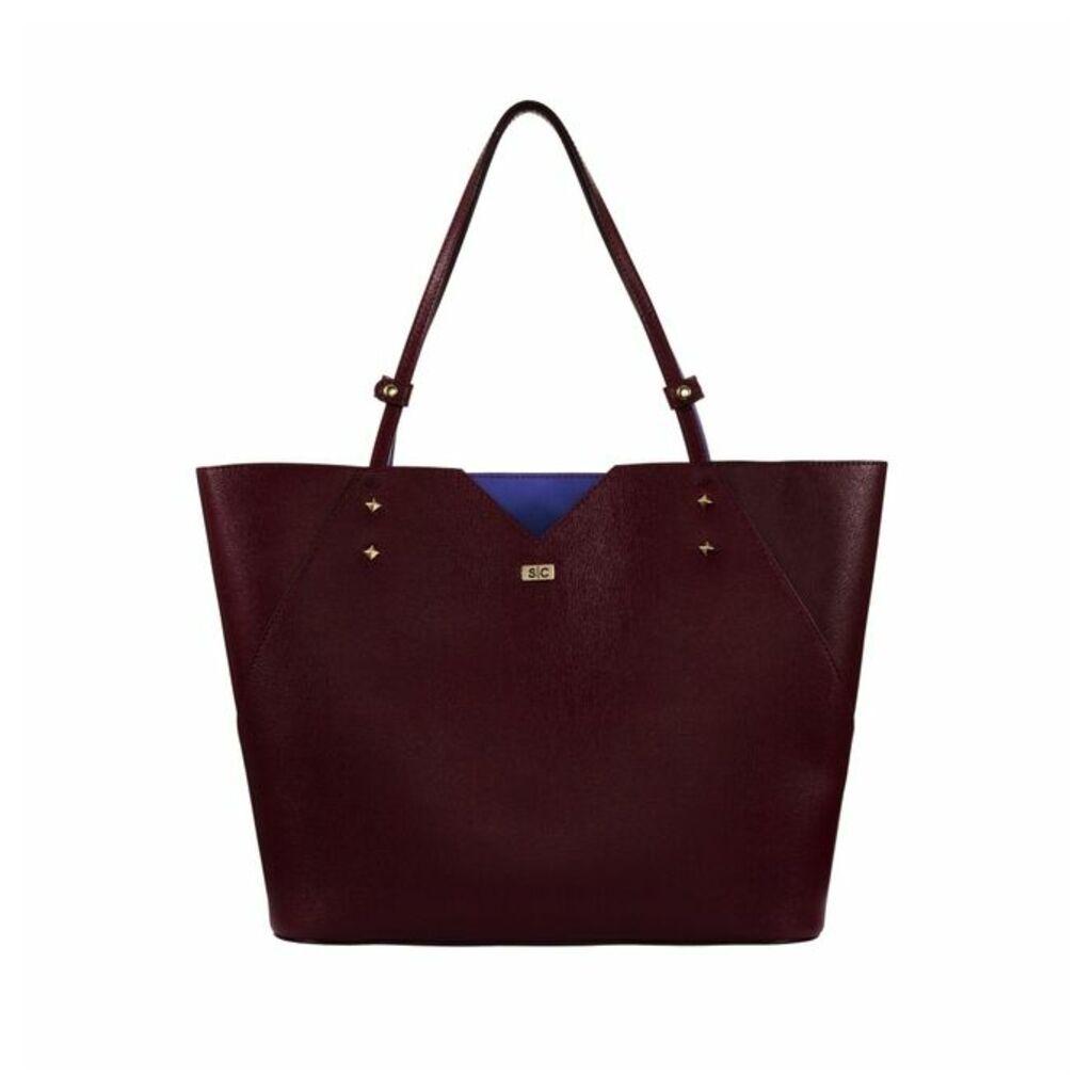 Stacy Chan London Veronica Tote In Bordeaux Saffiano Leather