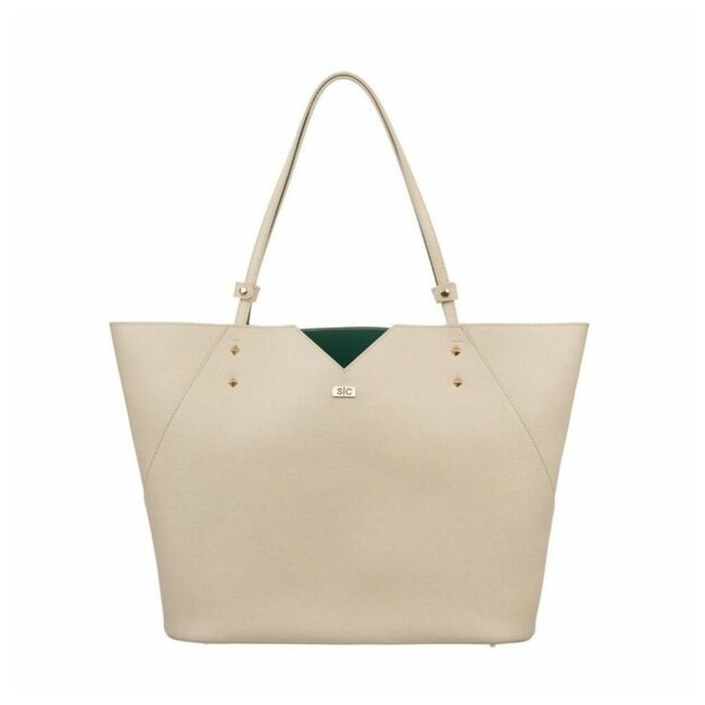 Stacy Chan London Veronica Tote In Stone Saffiano Leather