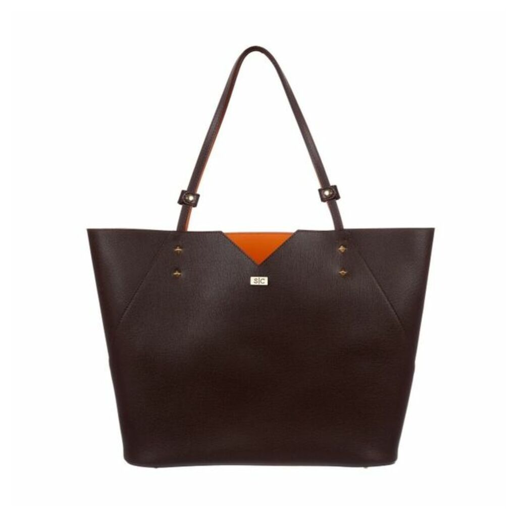 Stacy Chan London Veronica Tote In Mocha Saffiano Leather