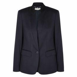 Stella McCartney Fleur Navy Piqué Wool Blazer