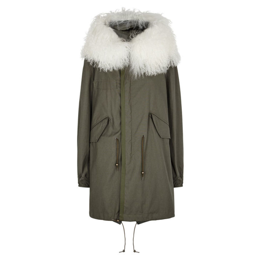 Mr & Mrs Italy Olive Shearling-trimmed Cotton Parka