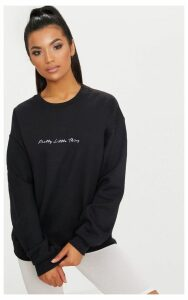 PRETTYLITTLETHING Black Embroidered  Oversized Sweater, Black